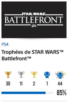 Progessison trophées Star Wars Battlefront