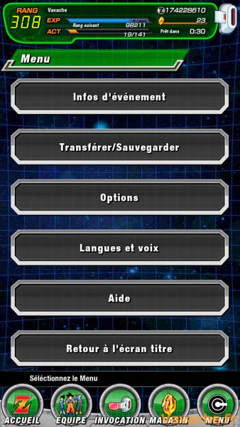 Guide Dokkan Battle Menu
