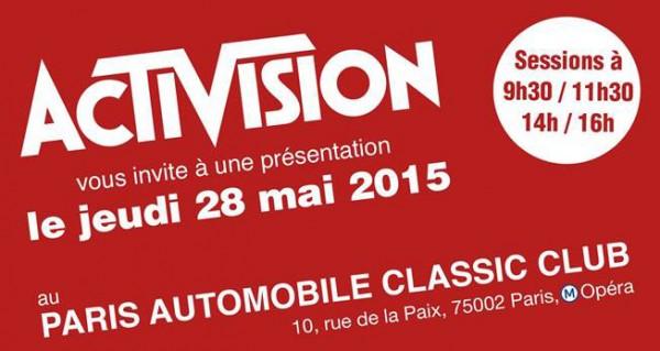 Invitation Presse évènement Activision
